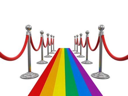 roped off: Multi Colored Carpet and stanchions. Image with clipping path