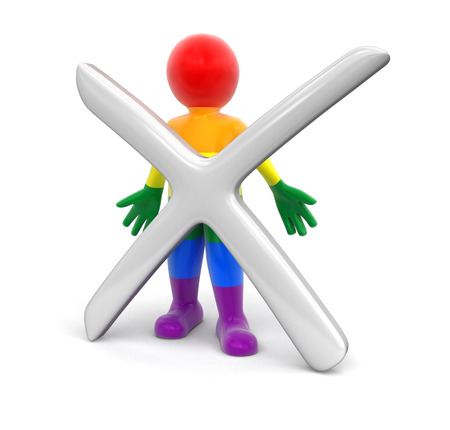 refusing: Color Man and cross. Image with clipping path