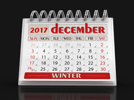 calendario diciembre: Calendar - december 2017 (clipping path included)
