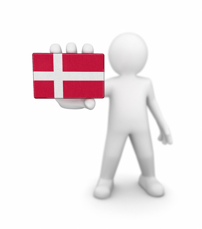 danish flag: Man and Danish flag. Image with clipping path