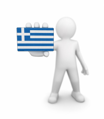 greek flag: Man and Greek flag.