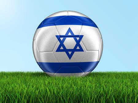 Soccer football with Israeli flag. Stock Photo