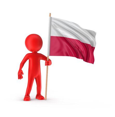 bandera de polonia: El hombre y la bandera polaca.