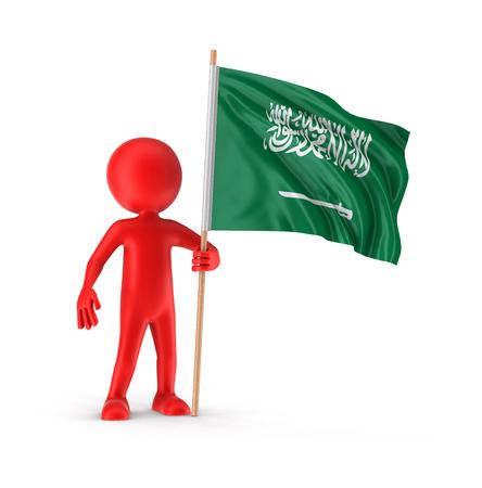 saudi arabia: Man and Saudi Arabia flag.