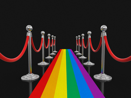 Multi Colored Carpet and stanchions.