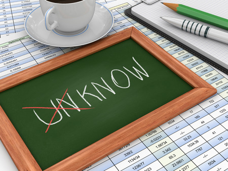 advisement: Blackboard with Unknown into known Stock Photo