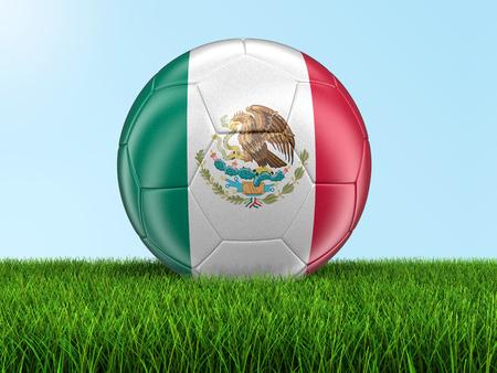 bandera mexicana: fútbol de fútbol con la bandera mexicana. Imagen con el camino de recortes