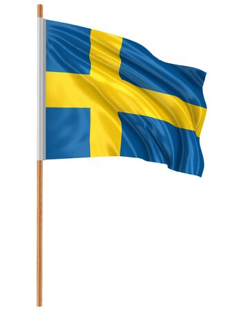 fabric surface: 3D Swedish flag with fabric surface texture. White background. Stock Photo