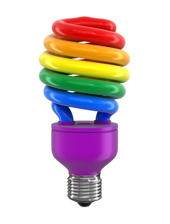 Multicolor Energy Saving Light Bulb. Image with clipping path