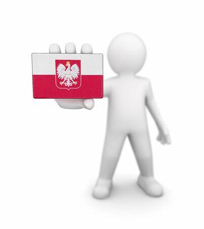 bandera de polonia: El hombre y la bandera polaca. Imagen con el camino de recortes