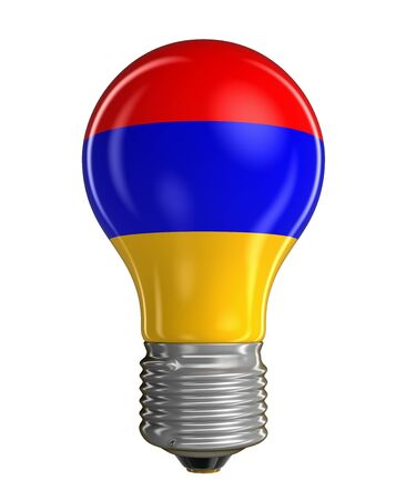 Light bulb with Armenian flag. Image with clipping path