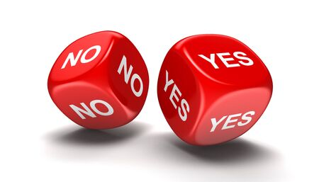 Dices with yes, no. Image with clipping path Stock Photo