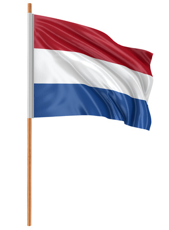 netherlands flag: 3D Netherlands flag with fabric surface texture. White background.