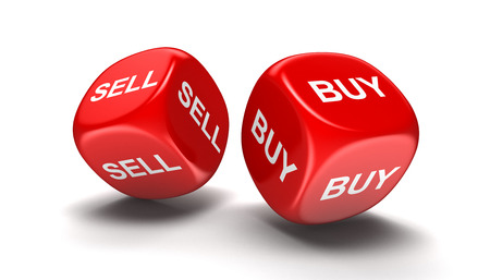 Dices with sell, buy. Image with clipping path