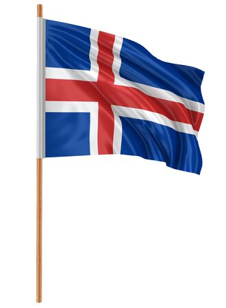 fabric surface: 3D Icelandic flag with fabric surface texture. White background.