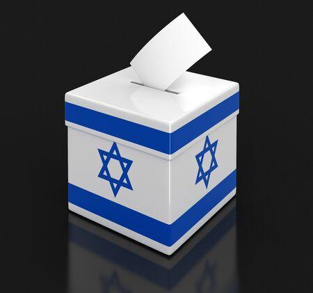 israeli: Ballot Box with Israeli flag Stock Photo