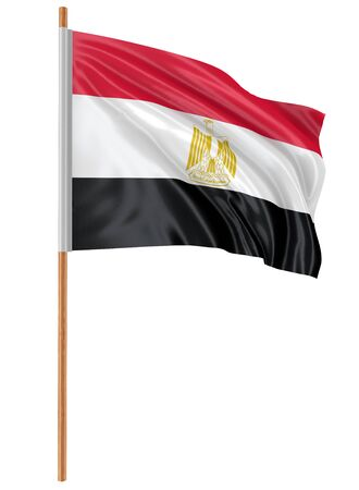 fabric surface: 3D Egyptian flag with fabric surface texture. White background.
