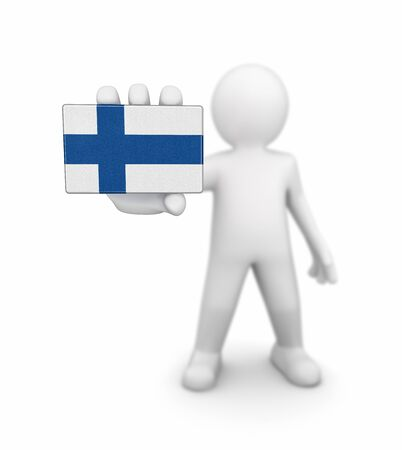 finnish: Man and Finnish flag. Image with clipping path