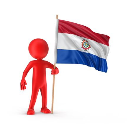 bandera de paraguay: Man and Paraguayan flag. Image with clipping path Foto de archivo