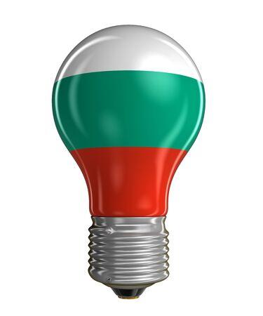 bulgarian: Light bulb with Bulgarian flag. Stock Photo