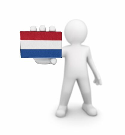 netherlands flag: Man and Netherlands flag.
