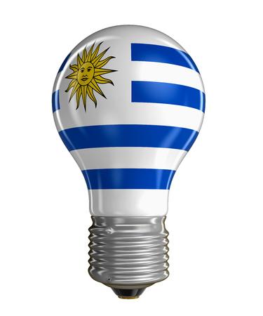 bandera de uruguay: Bombilla con bandera uruguaya. Foto de archivo