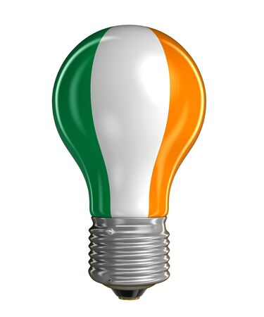 irish flag: Light bulb with Irish flag. Image with clipping path