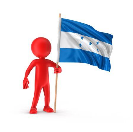 bandera honduras: El hombre y la bandera de Honduras. Imagen con el camino de recortes Foto de archivo