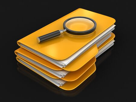 worktool: 3D Folders with Magnifying Glass. Image with clipping path Stock Photo