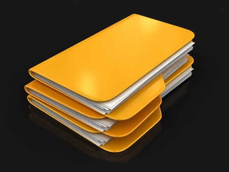 file folder: Folder and files. Image with clipping path Stock Photo