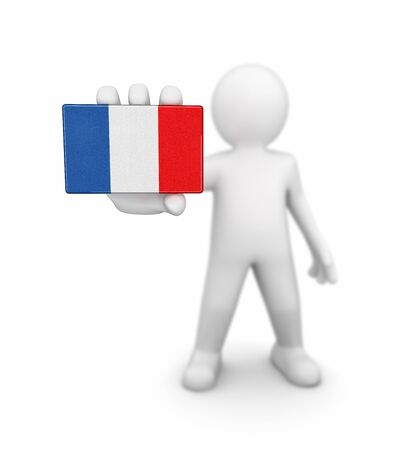 french culture: Man and French flag. Image with clipping path