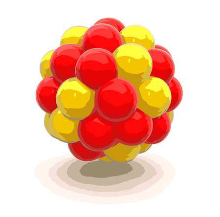 nuclear fission: Atomic nucleus. Image with clipping path