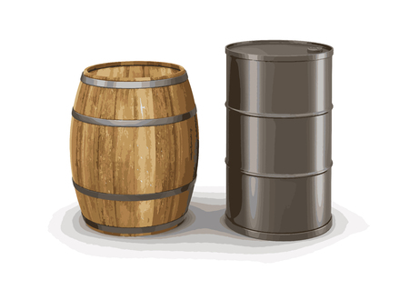 steel drum: wine barrel and steel drum. Image with clipping path