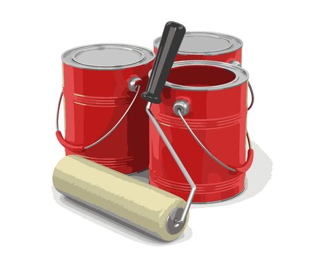 paint roller: Paint roller and Cans of paint. Image with clipping path