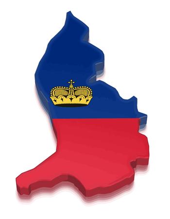 liechtenstein: Map of Liechtenstein. 3d render Image. Image with clipping path