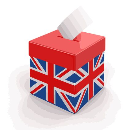british culture: Ballot Box with British flag. Image with clipping path