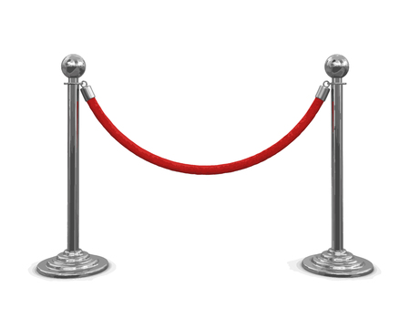 roped: Chrome Stanchions with rope. Image with clipping path