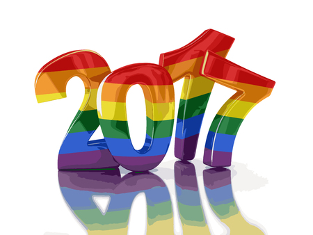 Gay Pride Color New Year 2017. Image with clipping path. Illustration
