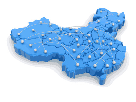 Map of China with flight paths. Image with clipping path. Illustration