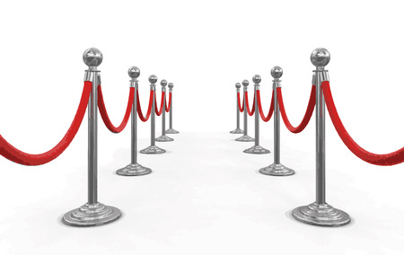 roped off: Chrome Stanchions with rope. Image with clipping path