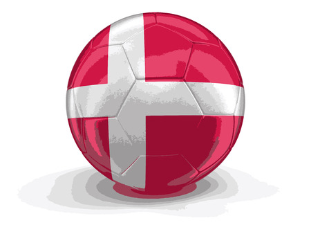 danish flag: Soccer football with Danish flag. Image with clipping path