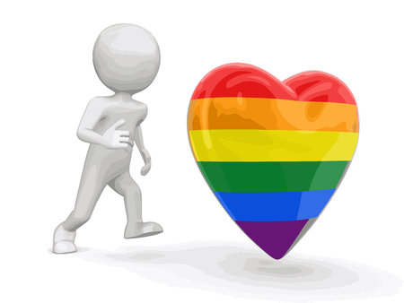 gay men: Man run to color heart. Image with clipping path Illustration