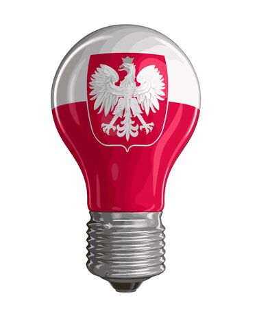bandera de polonia: Light bulb with Polish flag. Image with clipping path