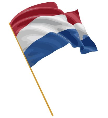 3D Netherlands flag with fabric surface texture. White background. Image with clipping path Vetores