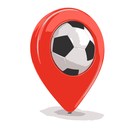 single entry: Pointer with Soccer football. Image with clipping path