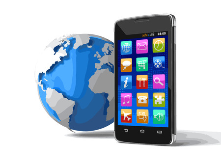 personal data assistant: Touchscreen smartphone and globe. Image with clipping path.