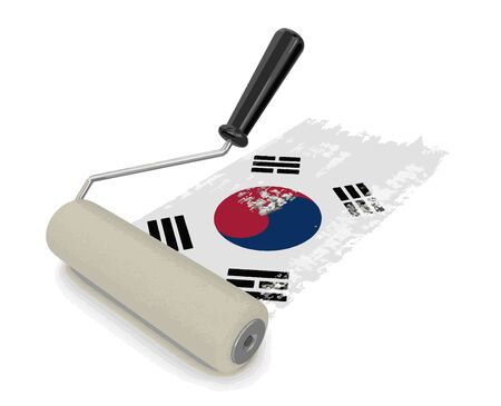 paintroller: Paint roller with South Korean flag. Image with clipping path
