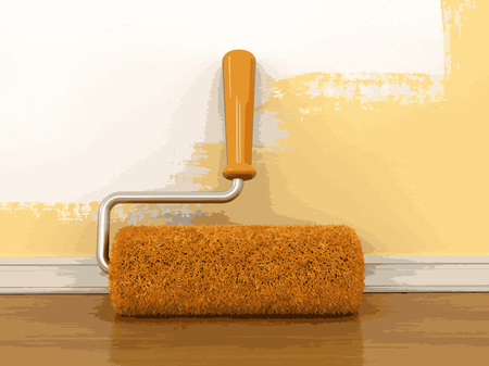 paint roller: Paint roller near wall Illustration