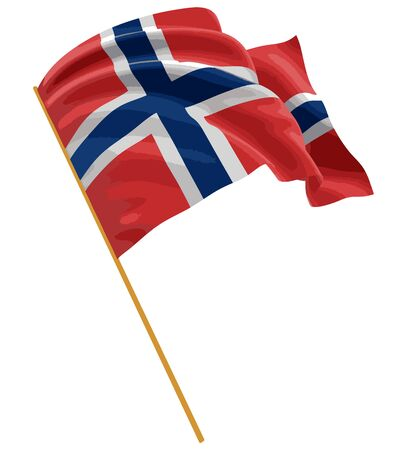 3D Norwegian flag with fabric surface texture. White background. Image with clipping path