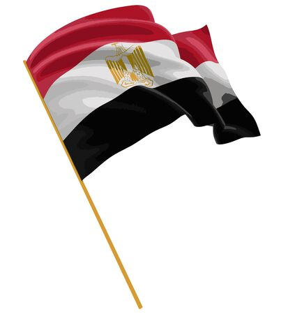 egyptian culture: 3D Egyptian flag with fabric surface texture. White background. Image with clipping path Illustration